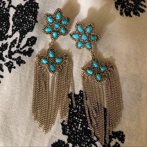 Rare Kendra Scott turquoise double flower earrings